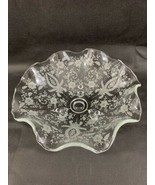 """Viking New Martinsville Floral Etched Wavy Edged Footed Dish 4"""" Tall 11""""... - $18.70"""