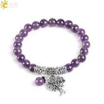 gem stone purple crystal bracelets bangle tree of life tibetan prayer rosary mala bead thumb200