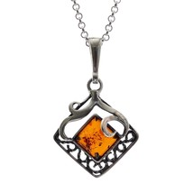 "Sterling Silver 925 Cognac Pendant Baltic Amber Rolo 18"" - $69.44"