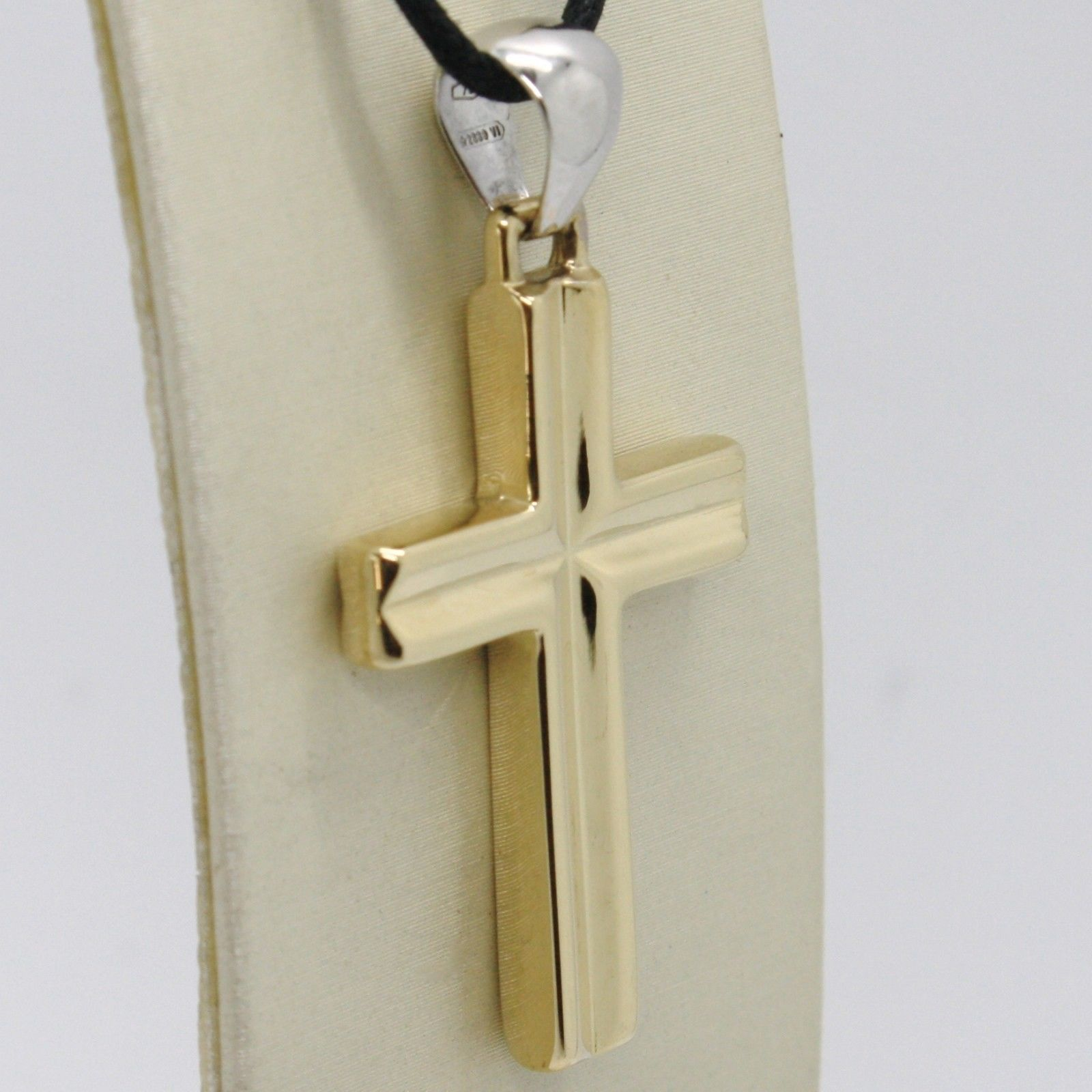 18K YELLOW & WHITE GOLD CROSS PENDANT, SQUARED, 1.6 INCHES, 4.1 CM MADE IN ITALY