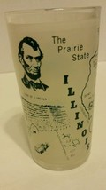 Vintage Hazel Atlas Illinois State Collector Map Frosted Glass Tumbler Vtg - $20.56