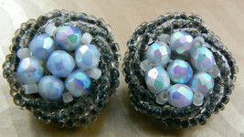 VTG IRIDESCENT BLUE COLOR FACETED GLASS BEADS BIRD NEST CLIP EARRINGS GE... - $14.26