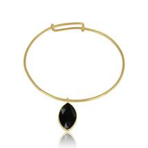 Black Onyx Gemstone Designer Gold Plated 925 Silver Handmade Bangle Jewelry - $29.70