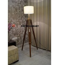 VINTAGE ADJUSTABLE TRIPOD FLOOR LAMP WITH WHITE COTTON SHADE BY NAUTICAL... - $197.01