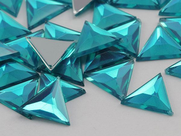 13mm Blue Zircon .BZ Flat Back Triangle Acrylic Gemstones - 50 Pieces