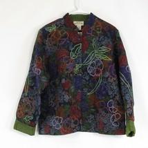Navy blue brown floral print 100% cotton ORVIS jacket XL - $29.99