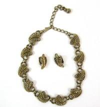 Vintage 50s 60s choker necklace/clip earring set gold tone leaf shape costume - $19.79