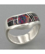Teme Inc Navajo Handcrafted Sterling Silver Black Opal & Onyx Inlay Ring... - $36.99