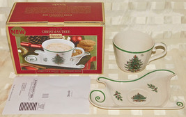 Spode Christmas Tree Sleigh Cup & Saucer Santa Cookie Plate Holiday Heirloom New - $46.74