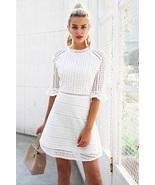New white cotton lace A line women short dress spring summer blue pink mini - $47.00