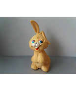Rabbit Toy Vintage Rubber Toy Soviet yellow hare toy Vintage Rabbit Toy ... - $17.96
