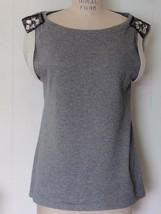 New Gap Gray Cotton Blend Flannel Sleeveless Sweatshirt Beaded Shoulders Top L - $39.59