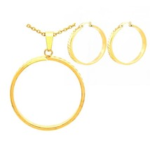 Trendy Stainless Steel Pendant With Earring Jewelry Sets For Women  - $21.92
