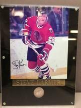 Framed 1991 Chicago Stadium Limited Edition Coin & Steve Larmer Signed P... - $37.86