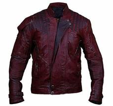 Star Lord Guardians Galaxy Vol 2 Biker Style Distressed Maroon PU Leather Jacket image 1