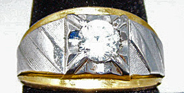 Large Silver Gold Tone CZ Solitaire 1 Carat Ring sz 10 - $38.99