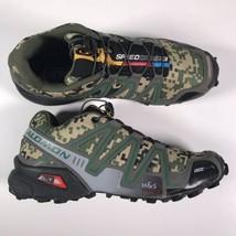 Salomon SpeedCross 3 Men's Sz. 8 Trail Running Shoes Digital Camo Green ... - $60.41