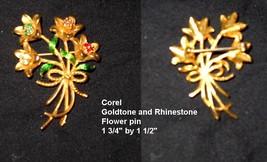 COREL Rhinestone Enamel Flower Bouquet Pin  - $6.00