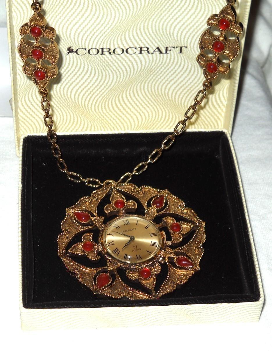 RARE Huge Corocraft Jeweled Pendant Watch  Coro