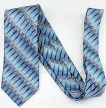 Blue Necktie silk striped classic Made in Italy bridal business classic ... - $24.40