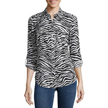 a.n.a Long-Sleeve Front-Tab Blouse Size PS New Zebra Msrp $44.00 - $16.99