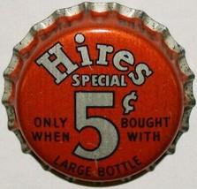 Vintage soda pop bottle cap HIRES SPECIAL large 5 cents cork new old sto... - $7.99