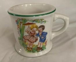 Vintage Warwick Made in USA Stoneware. Child's Mug Cup 1930s Green Rim 3... - $11.99
