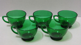 Lot of 5 Vintage Forest Green Anchor Hocking Punch or Luncheon Cups  - $15.00