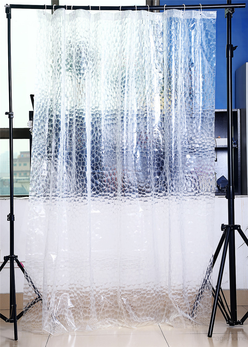 Transparent  Shower Curtain 3D PEVA Water Cube Shower Curtain Home Decor Scenic  - $26.90