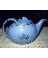 Vintage 1940s HALL China Cadet Blue 6 Cup Teapot with Cadet  - $80.75