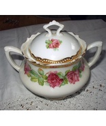 Antique Double-Handled Sugar Bowl with Lid-Lovely Gold Gild  - $58.00