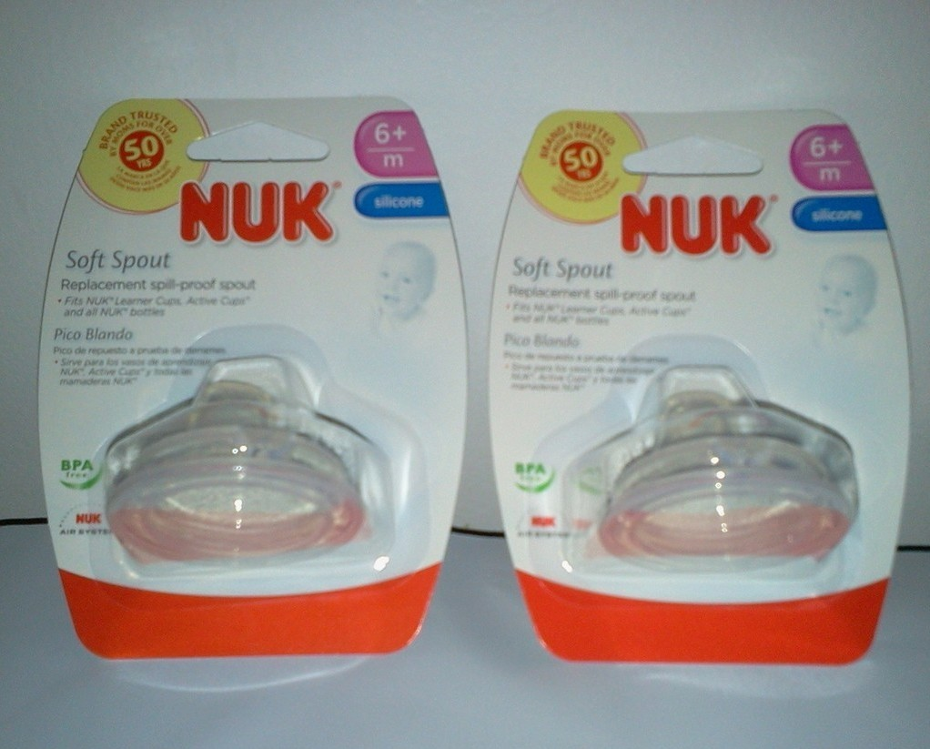 Primary image for 2 Nuk Replacement Spouts - Clear Soft Silicone for Nuk Learner Cups and Bottles