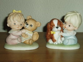 Homco Baby Boy and Girl Figurines 1424 Home Interiors - $13.00