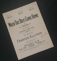 When The Boys Come Home Sheet Music Colonel John Hay Frances Allitsen Cr... - $16.82