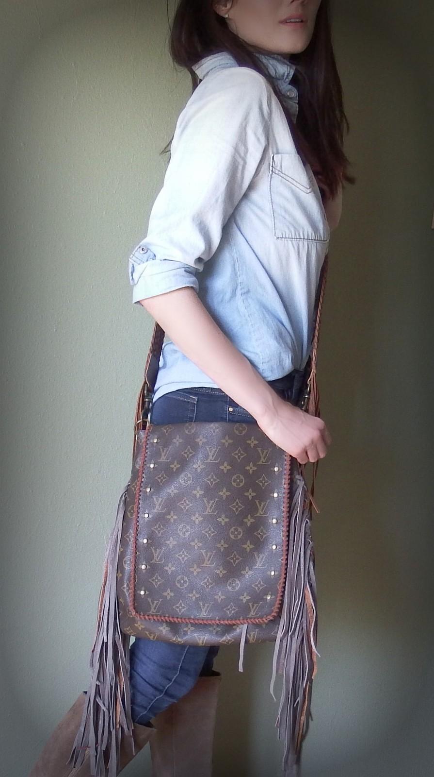 Fringe Monogram Musette Salsa- Boho Chic Crossbody Bag Authentic