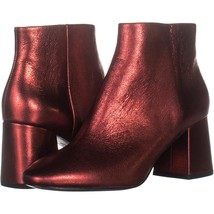 Ash Heroin Block Heel Ankle Boots 363, Red Leather, 7 US / 37 EU - $88.31