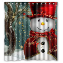 Hot Christmas Snowman Fabric Waterproof Bathroom Shower Curtain 165x180cm With 1 - $27.88