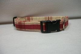 Dog Collar Adjustable Burgundy and Beige - $15.00