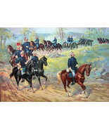 US ARMY in 1899 Marching Cavalry Artillery Field Cannons - COLOR Litho P... - $13.49