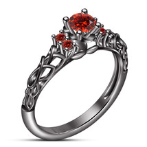 Round Cut Red Garnet Black Gold Plated Pure 925 Silver Women's Engagement Ring - $76.99