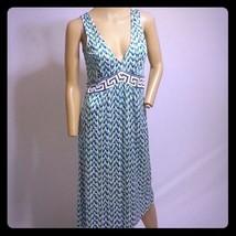 Diane Von Furstenberg Peacock Grecian Print Silk Slip Dress 10 - $113.99