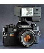 STUDENTS Konica FP-1 Camera w AR 50mm f1.8 Hexanon Lens SLR & X-24 Flash... - $87.00