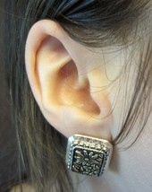 Vintage Square Flower Floral Daisy Silver Tone Clip-On Earrings - $9.99
