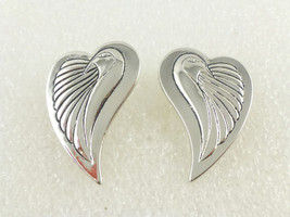 "LAUREL BURCH ""Bird Hearts"" Silvertone EARRINGS - Signed - FREE SHIPPING - $25.00"
