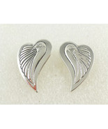"LAUREL BURCH ""Bird Hearts"" Silvertone EARRINGS - Signed - FREE SHIPPING - $449,27 MXN"