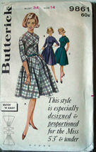 "Vintage 1950-60s Pattern 9861 Misses petite Dress 34""bust  - $5.00"