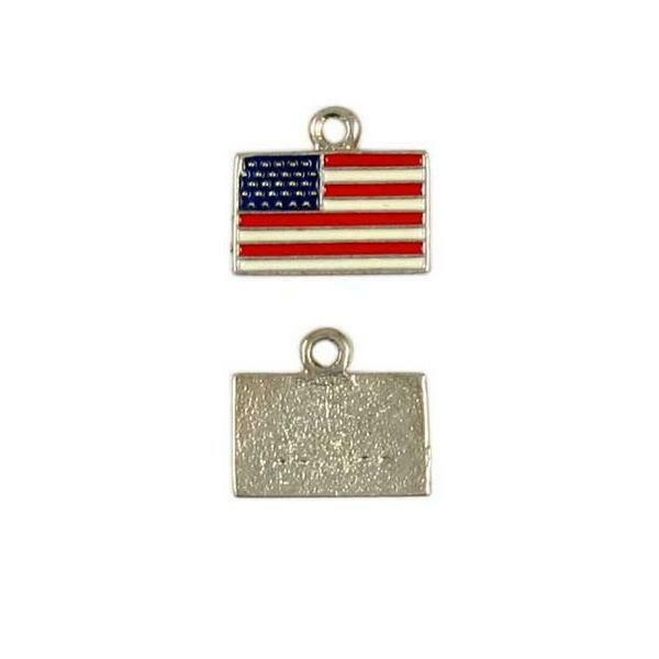 USA FLAG EPOXY ENAMELED FINE PEWTER CHARM PENDANT - 15mm  x 15mm x 2mm
