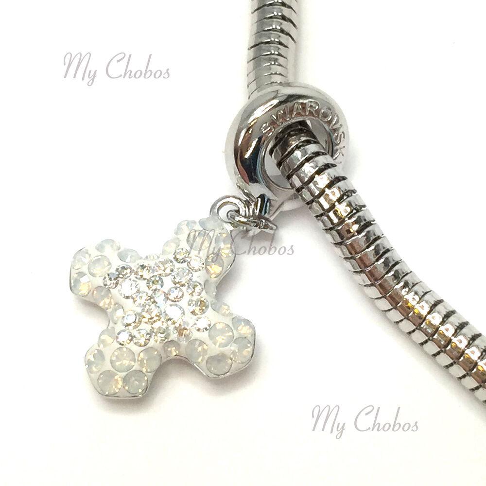 Swarovski European Hang Bracelet Charm Stainless Steel BeCharmed Pave Crystal image 15
