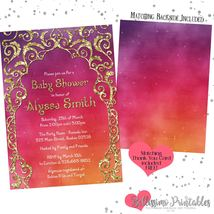 Arabian Nights Glitter Baby Shower Invitation PRINTABLE FREE thank you - £11.55 GBP