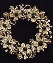 Vintage Style Clear Ab Swarovski Crystal Flower Wreath Brooch Pin - $59.00
